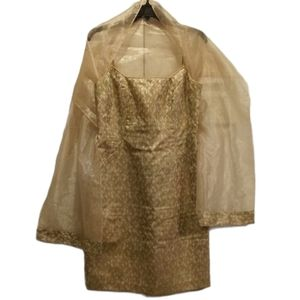 JS Collections Gold Dress with Shawl
